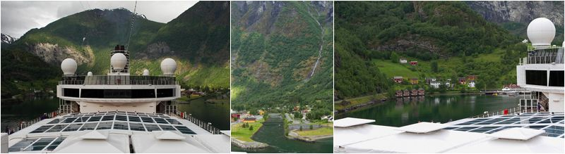 Flam - waterfalls, mountains, snow and greenery