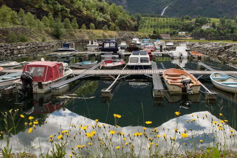 A small boat harbour in Flam
